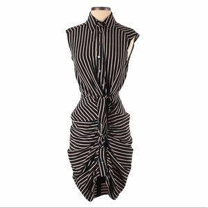 Vici Encounter Stripe Button Down Sleeveless Dress